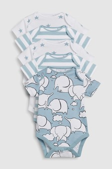 Pack de cinco bodis de manga corta con elefantes (0 meses-2 años)