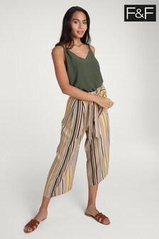 F&F Neutral Printed Crop Wide Leg Trouser
