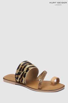 Kurt Geiger Leopard Print Combo Leather Dawn Sandal