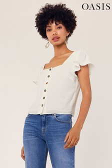 Oasis White Button Through Top