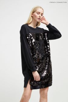 French Connection Black Sequin Sweater Dress