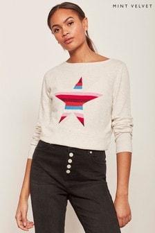 Mint Velvet Natural Stripe Star Front Knit