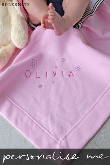 Personalised Embroidered Flower Baby Blanket by Solesmith