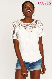 Oasis White Crochet Knit