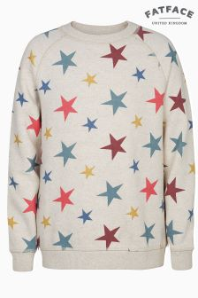 FatFace Natural Star Print Crew Neck Sweat