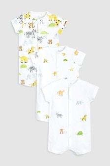 動物動物卡通圖案連身衣三件裝 (0個月至2歲)