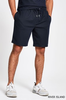 River Island Navy Pinstripe Short