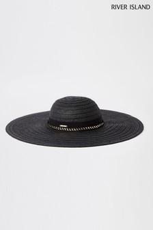 River Island Black Oversize Black Floppy Hat
