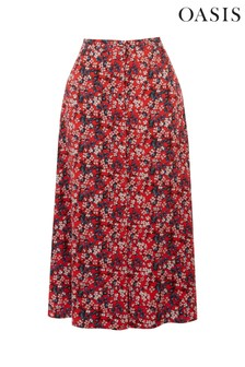 Oasis Red Ditsy Button Midi Skirt