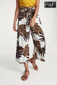 F&F Multi Printed Crop Wide Leg Trouser