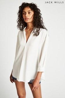 Jack Wills Southcote legeres Hemd aus weichem Stoff, Weiß