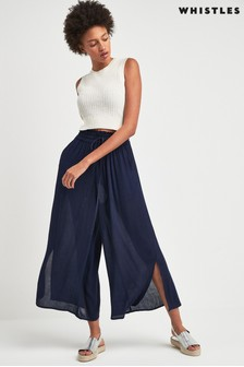 Whistles Navy Fluid Cropped Trouser