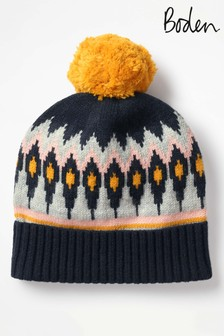 Boden Navy Fairisle Pattern Hat