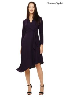 Phase Eight Deadly Nightshade Justine Wrap Front Dress