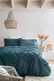 Tufted Global Diamond Duvet Cover and Pillowcase Set