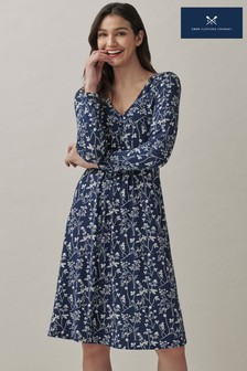 Crew Clothing Company Blue Long Sleeve Button Front Jersey Tea Dress