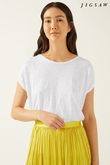Jigsaw White Linen Bound Edge Top