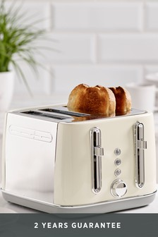 Cream Electric 4 Slot Toaster