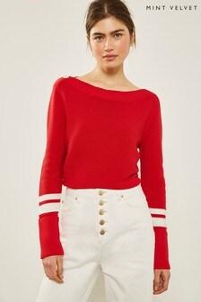Mint Velvet Red Contrast Stripe Knit