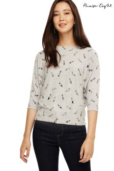 Phase Eight Grey Christa Shoe Print Knit Top