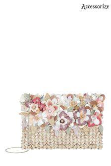 Accessorize Pastel Lucca Flower Zip Top Clutch Bag