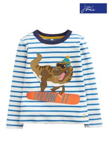 Joules Lagoon Stripe Dino Appliqué Top