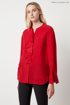 French Connection Red Elna Light Ruffle Blouse