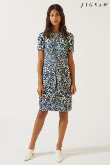 Jigsaw Blue Spot Print Knot Waist Jersey Dress