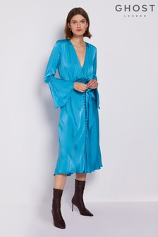 Ghost London Blue Annabelle Satin Dress