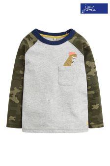 Joules Camo Dinosaur Raglan Sleeve Top