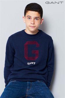 GANT Teen Navy G Cotton Wool Knit Jumper