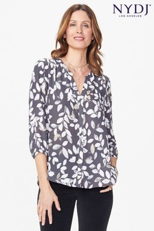 NYDJ® Morning Frost Vintage Pewter Print Pintuck Blouse