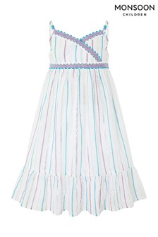 Monsoon White Helena Stripe Dress