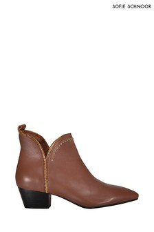 Sofie Schnoor Brown Leather Stud Ankle Boots