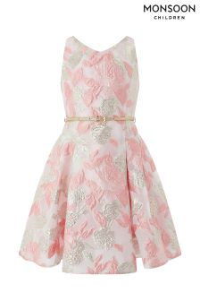 Monsoon Pink Hallie Jacquard Dress