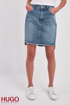 HUGO Raw Hem High Low Denim Skirt