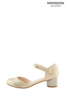 Monsoon Storm Abigail Gold Diamanté Heel Shoes