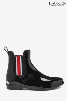 Ralph Lauren Patent Black Ankle Welly Boots