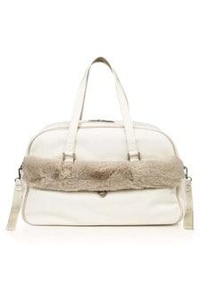 White Fur Trim Changing Bag