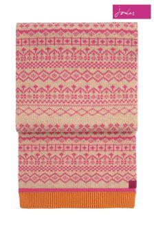 Joules Deep Fuchsia Fairisle Pattern Knitted Scarf