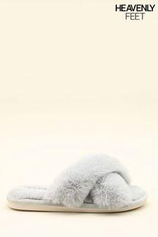 Heavenly Feet Grey Ladies Comfort Slippers