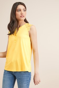 Lace Sleeve Notch Neck Top