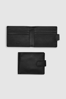Popper Front Leather Wallet