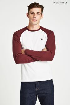 Jack Wills White Audley Long Sleeve Raglan T-Shirt