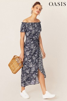 Oasis Blue Floral Bardot Midi Dress