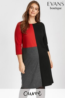 Evans Black Colour Block Tunic