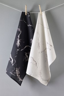 Set of 2 Marble Effect Tea Towels