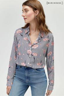 Warehouse White Honey Floral Stripe Shirt