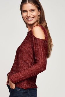 Metallic Cut-Out Shoulder Jumper