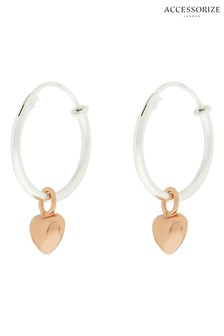 Accessorize Sterling Silver Hoop Earrings With Rose Gold Plated Hearts